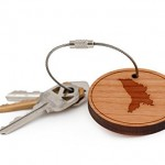 Moldova Keychain, Wood Twist Cable Keychain - Small