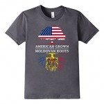 Kids American Grown with Moldovan Roots T-Shirt - Moldova Shirt 6 Asphalt